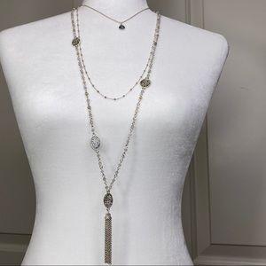 Triple layered necklace with semi precious stone